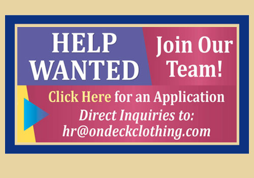 On Deck Clothing Company is hiring! Apply Online Today!